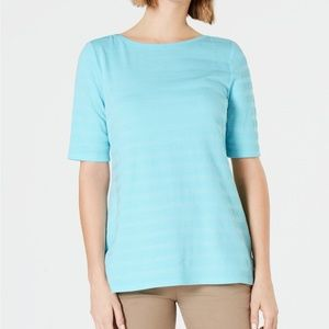 Charter Club Cotton-Striped Elbow-Sleeve Top